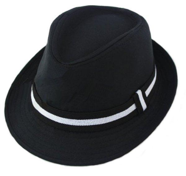 Fedora Kinder Hut Schwarz Mit Weissem Hutband Kinderbekleidung
